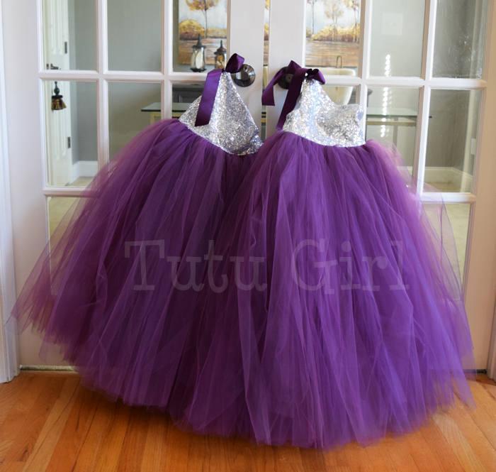 Wedding - Plum Flower Girl Dress, Eggplant and Silver Tutu Dress, Silver Sequins, Eggplant Plum Tutu Dress