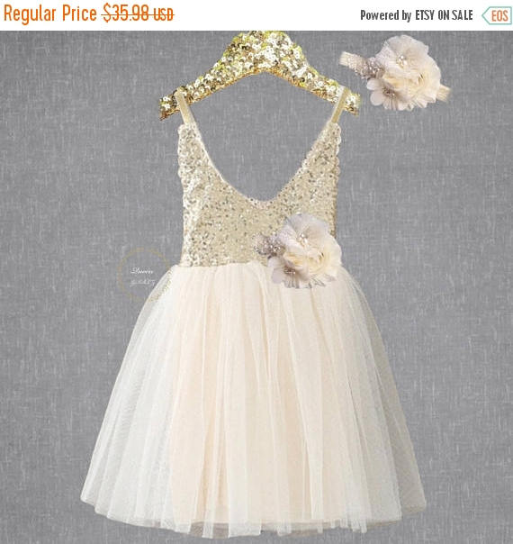 Wedding - Ivory lace dress, ivory flower girl dress, gold sequin flower girl, rustic flower girl, country wedding, gold bridesmaid, ivory tulle dress