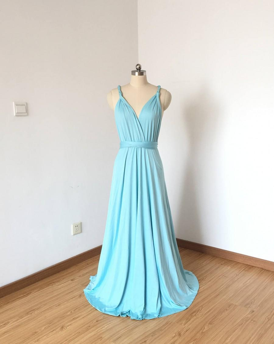 Свадьба - Tiffany Blue Spandex Long Convertible Bridesmaid Dress