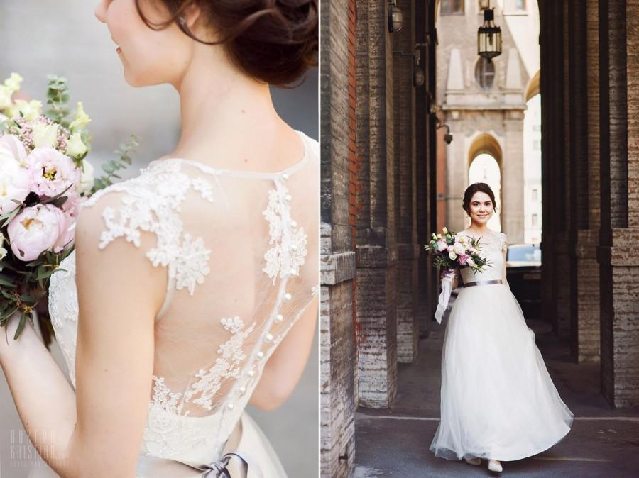 زفاف - Boho wedding dress Wedding dress  Romantic Wedding Dress Short Sleeve Wedding Dress vintage wedding dress elegant wedding gown