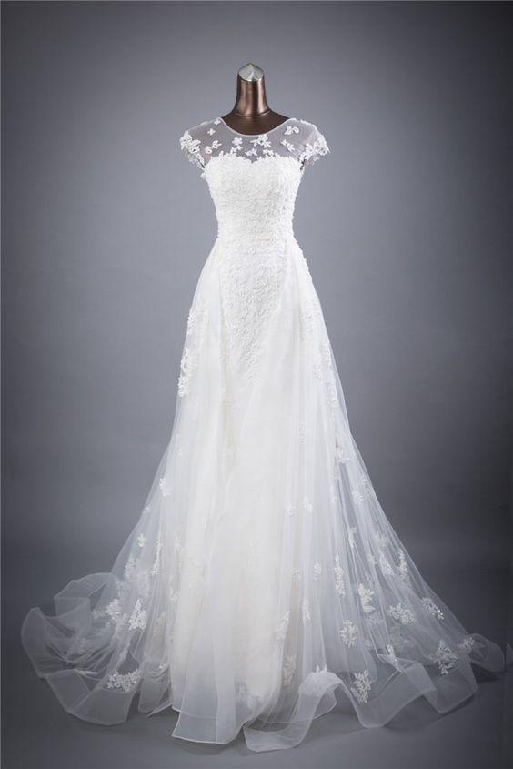 زفاف - Vintage Flowing Floral Lacet A-Line Wedding Gown