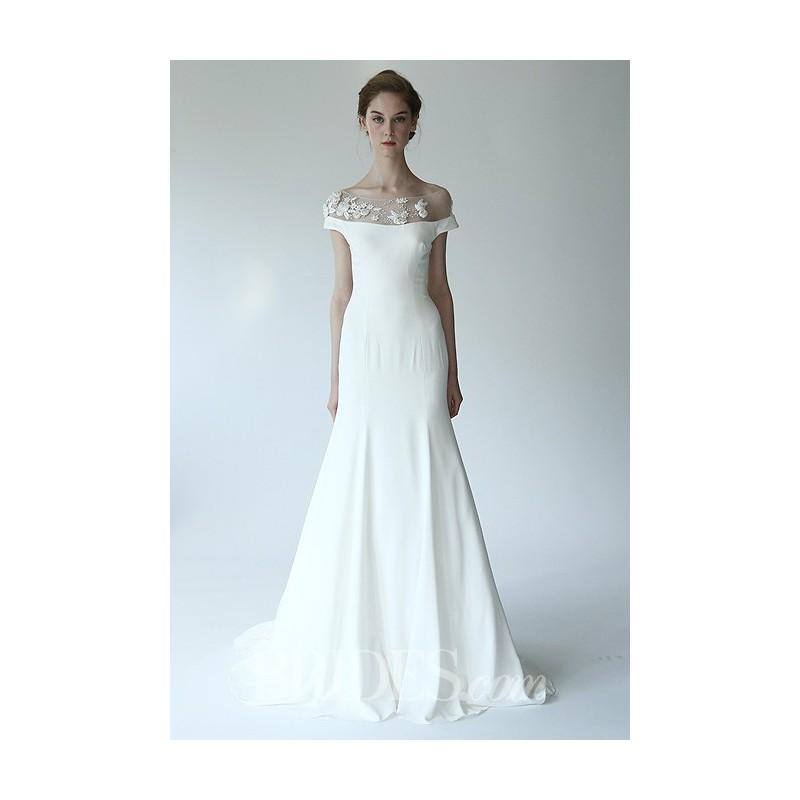 زفاف - Lela Rose - Fall 2014 - The Valley Silk Crepe A-Line Wedding Dress with Illusion Bateau Neckline - Stunning Cheap Wedding Dresses