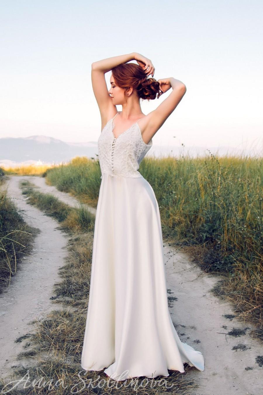 Wedding - Silk dress, Silk wedding dress, Silk gown, Simple wedding dress, Simple prom dress, Simple gown, 0002 // 2016