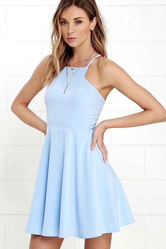 زفاف - Call To Charms Light Blue Skater Dress