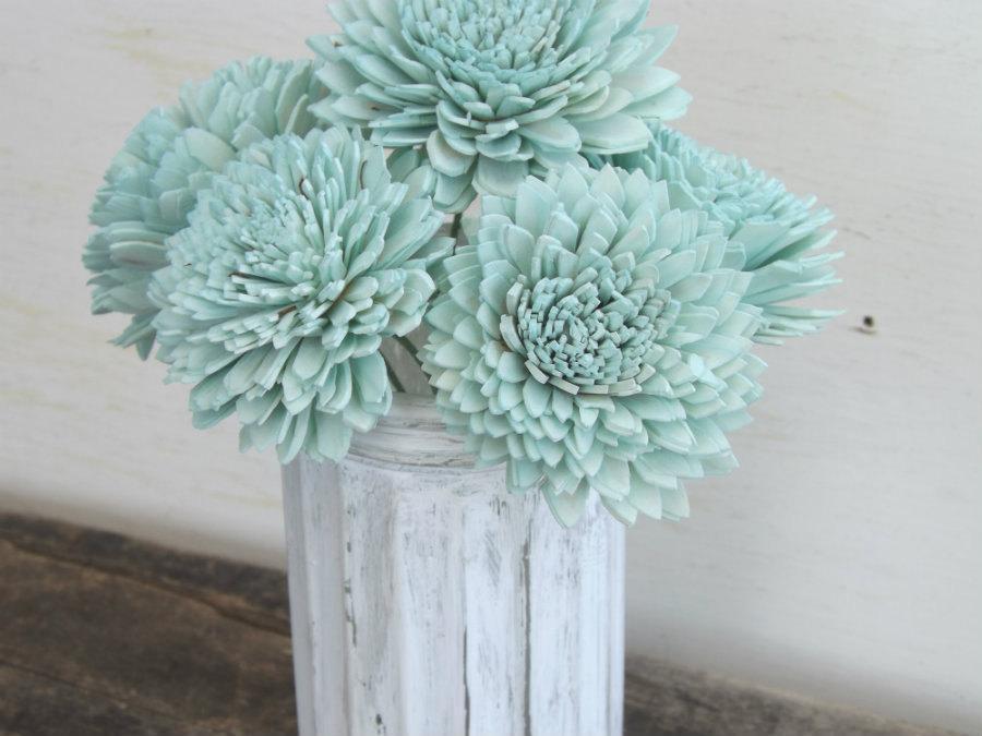"Wedding - Stemmed Sola Flowers Mint Ivory or Blush Dahlia 2"" Set of 6 DIY Bride Bouquet Craft Supply Decoration Sola Wood"