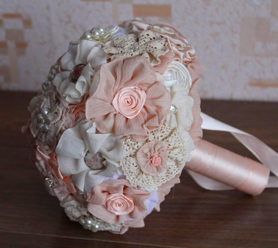 Mariage - Brooch bouquet, brooch bouquet with boutonniere. Wedding bouquet, fabric bouquet. Ivory bouquet, wedding set. Bridesmaids bouquets. Bridal
