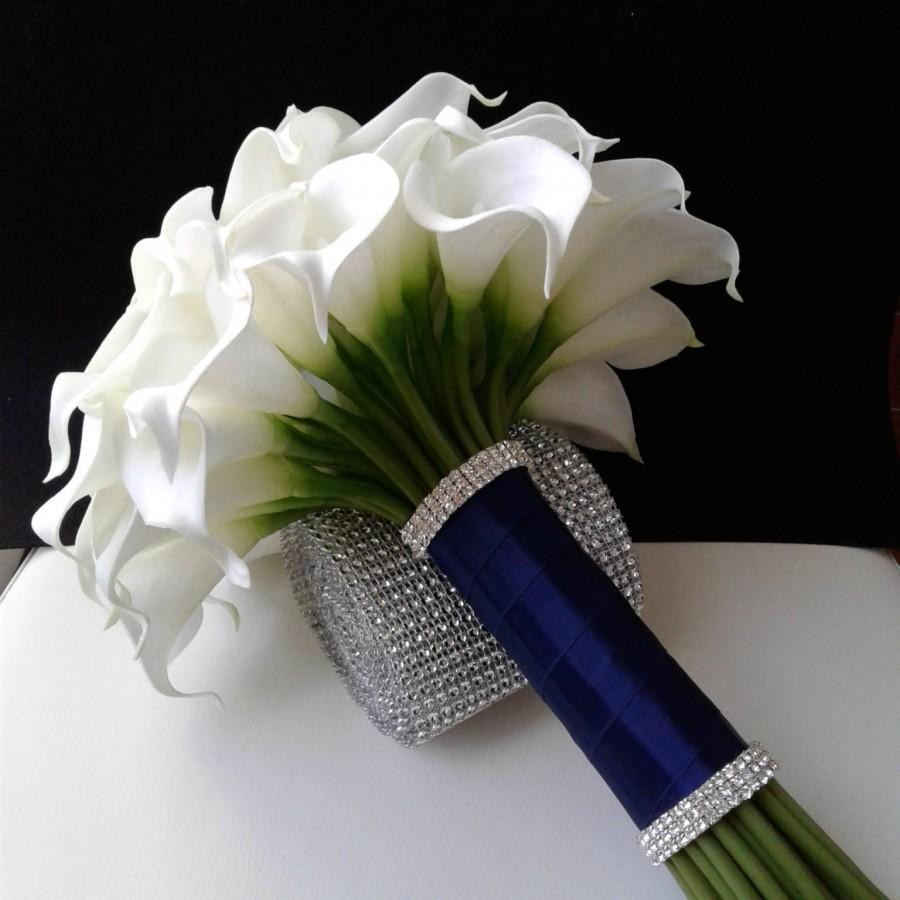 Mariage - White and Navy Blue Real Touch Calla lily Wedding Bouquet