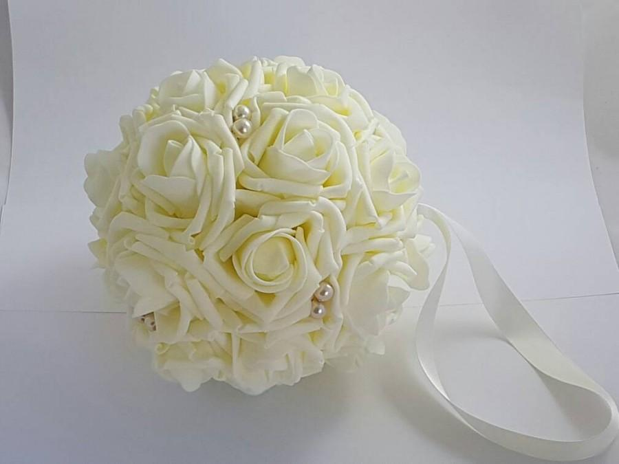 "Mariage - 4"" - 6 "" Wedding Pomander, Wedding Flower Balls, Flower Girl Kissing Ball,  Bouquet Alternative"