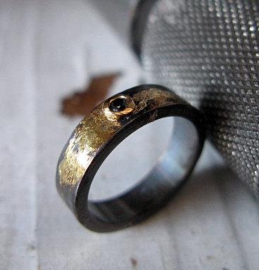 Hochzeit - Raw Diamond Ring Size 6 Rose Cut Diamond Ring Unique Engagement Ring Alternative Engagement Ring Black Diamond Ring Unique Wedding Band