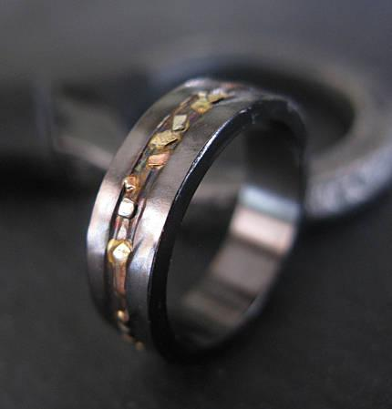 Black Gold Ring Mosaic River 6mm Unisex Ring Mens Rings Mens Wedding