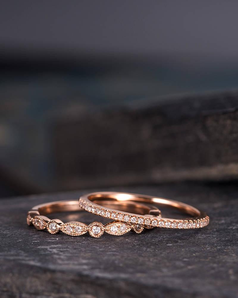 Hochzeit - Milgrain Wedding Band Women Rose Gold Art Deco Diamond Eternity Band Bridal Set 2pcs Delicate Minimalist Dainty Marquise Anniversary Gift