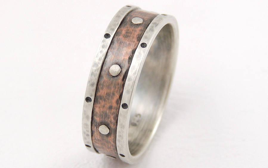 Mariage - Silver copper wedding ring - unique engagement ring,men wedding ring,anniversary ring,men ring,woman ring,unique ring for her,7mm wide
