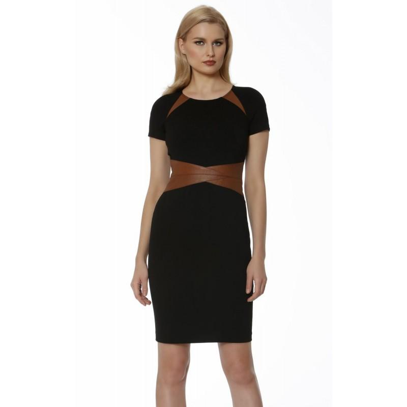 Hochzeit - Black/Luggage Scoop Neckline Knit Dress by NUE by Shani - Color Your Classy Wardrobe