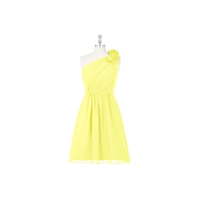 Hochzeit - Lemon Azazie Sabrina - Knee Length One Shoulder Illusion Chiffon Dress - Cheap Gorgeous Bridesmaids Store