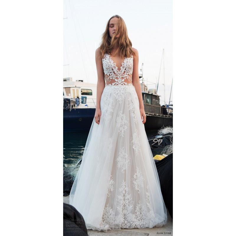 Hochzeit - Alon Livne Christine 2018 Lace Embroidery Zipper Up Sexy Garden Sleeveless V-Neck Chapel Train Spring Aline White Bridal Gown - Top Design Dress Online Shop