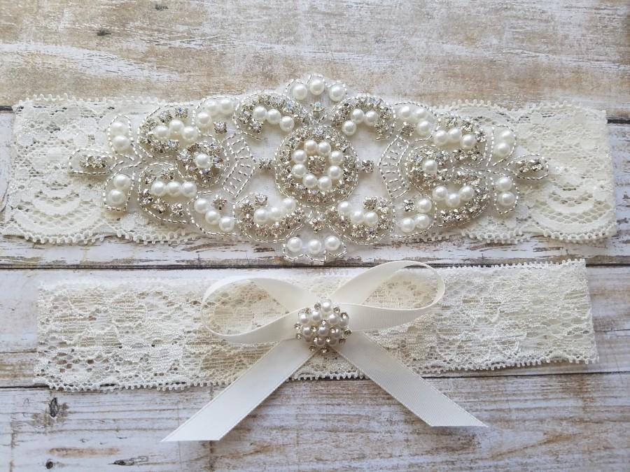 Hochzeit - SALE - Wedding Garter, Bridal Garter, Garter Set - Crystal Rhinestone & Pearls - Style G8001IVO