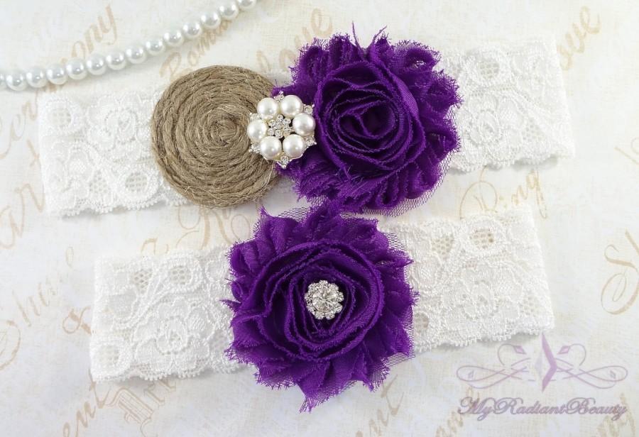 Hochzeit - Garters, Wedding Garter, Bridal Garters, Sexy Garter, Purple Shabby Garter, Lace Garter Set, Handmade Garter, Burlap Rustic Garter GTF0025P
