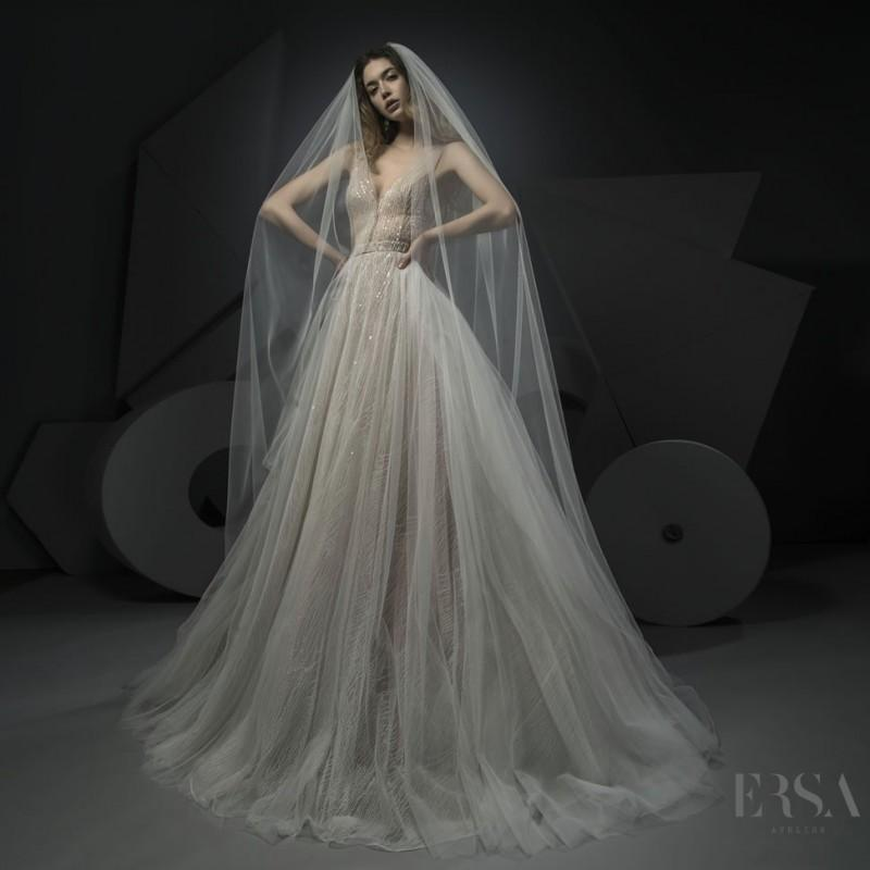 Wedding - Ersa Atelier Spring/Summer 2018 Miss Hunt Chapel Train Elegant Champagne Sleeveless V-Neck Ball Gown Beading Dress For Bride - HyperDress.com