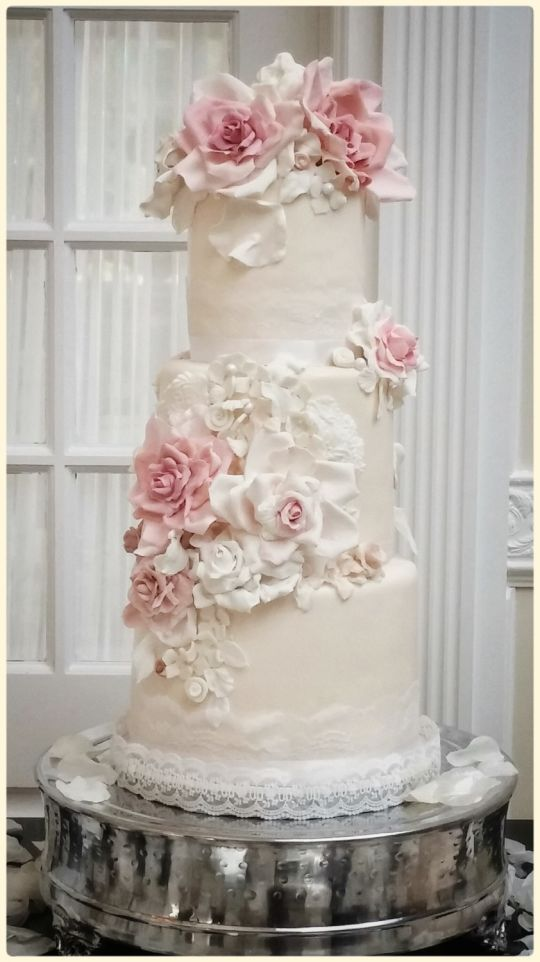 Wedding - White Floral Wedding Cake