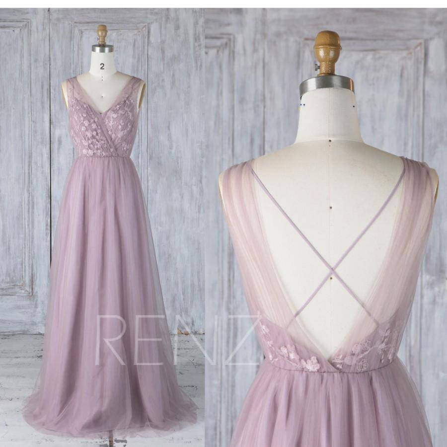 زفاف - Bridesmaid Dress Dark Mauve Tulle V Neck Illusion Lace Wedding Dress,Open Back Long Prom Dress,A Line Criss Cross Back Maxi Dress (LS349)