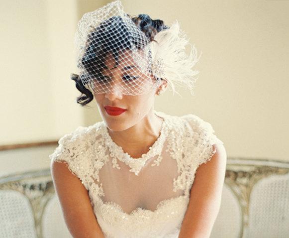 Wedding - Wedding Hair Comb, Ivory Hair Clip,  Bridal Veil,  Bridal Wedding Set,  Feather Hair Clip,  Ivory Wedding Veil, Feather Fascinator, Combs