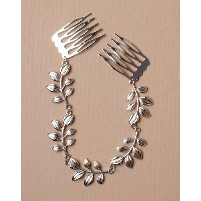 Wedding - silver hair chain, leaf hair chain, wedding head dress, prom hair piece, comb hair chain, hair decoration,hair jewellery, bridal hairpiece