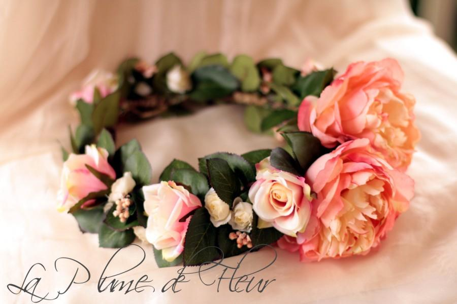 Wedding - Coral Gem - flower crown, hair circlet.  Coral peonies, cream and coral roses, coral berry cluster and lush foliage.