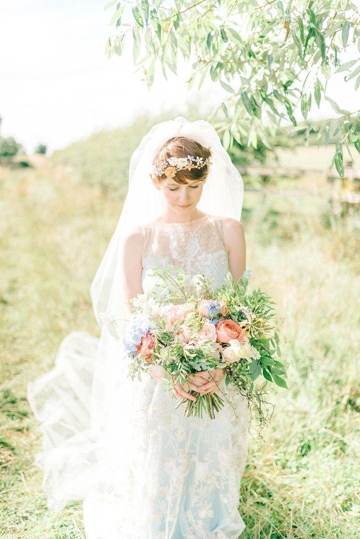 Mariage - A Blue Silk Claire Pettibone Dress For A Brambly Hedge Inspired Village Hall Wedding