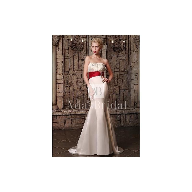 Wedding - Alluring Satin Strapless Neckline Mermaid Wedding Dresses with Rhinestones - overpinks.com