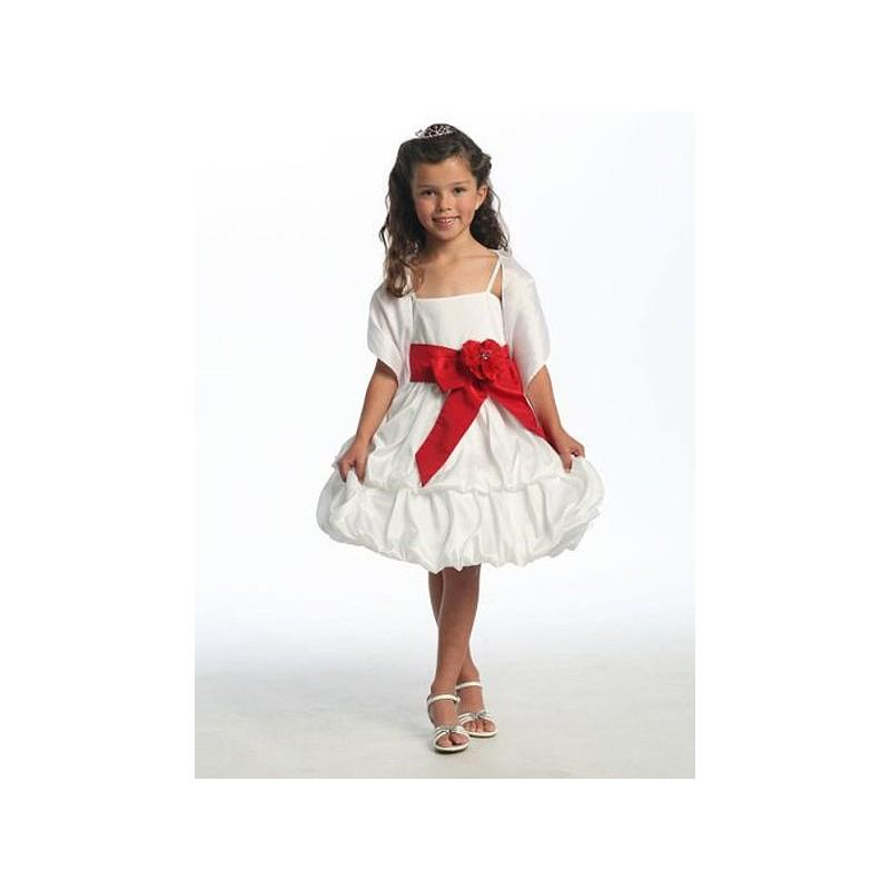 Свадьба - White Two Layer Bubble Taffeta Dress w/Sash & Flower Style: D3320 - Charming Wedding Party Dresses