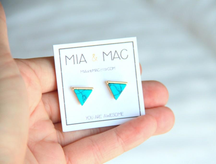 Hochzeit - Turquoise triangle stud earrings, Turquoise earrings, Triangle studs, Modern jewelry, Small Earrings, Dainty Jewelry, Bridal Bridesmaid