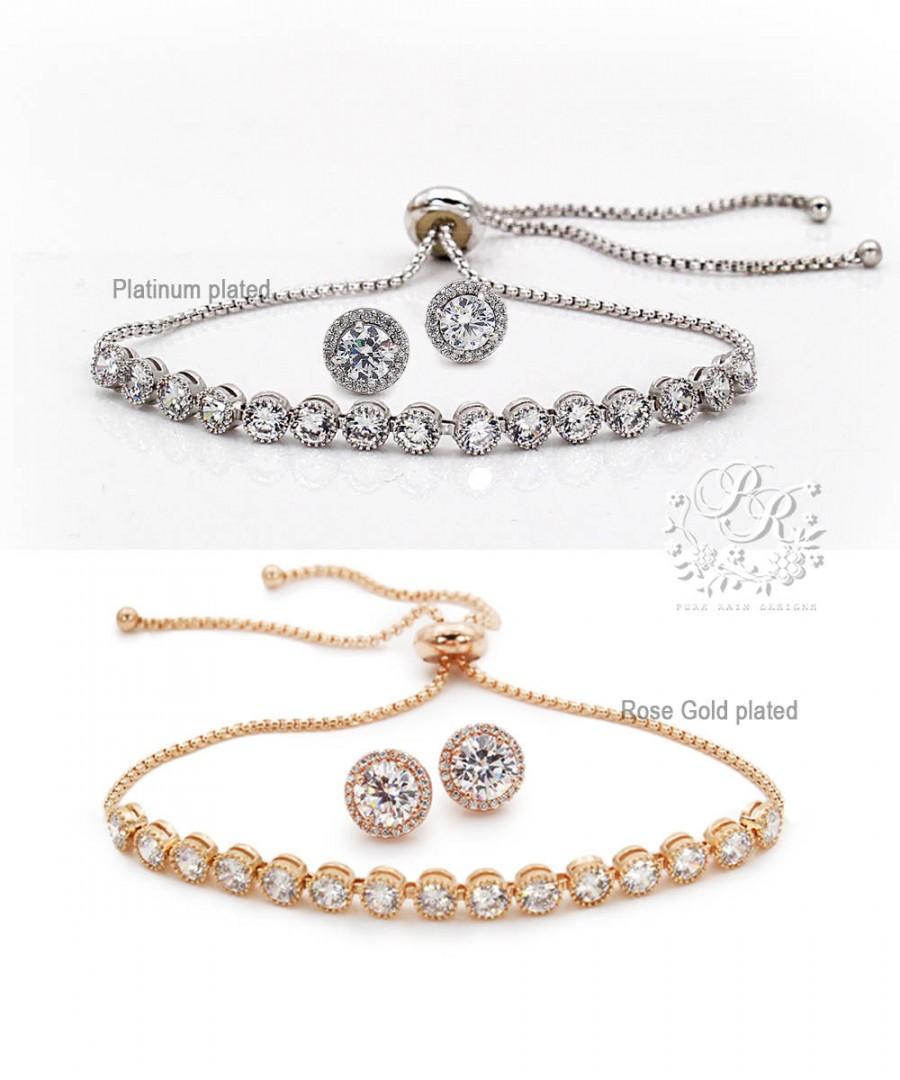 Mariage - Wedding Earrings Wedding Bracelet set Bridal Earrings CZ Earrings Bridal Bracelet Wedding Jewelry Bridal Jewelry Bridesmaid Bracelet Tvis