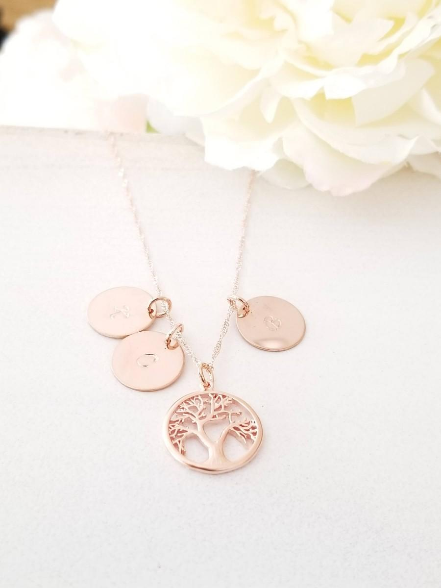 Wedding - Mothers day Family Tree  Monogram Necklace, Initial Disc Charm Necklace, Personalized Jewelry, Mom and Children, mother, sister gift
