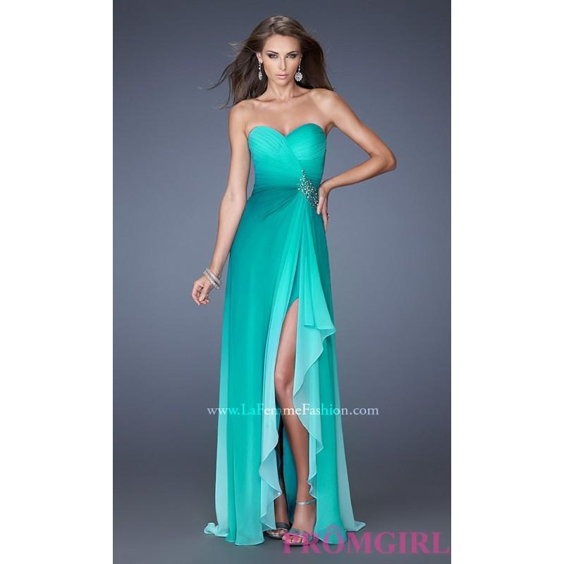 7104976cc81 La Femme Strapless Ombre Prom Gown - Brand Prom Dresses  2784693 ...