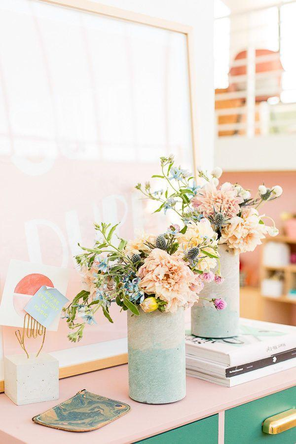 Wedding - How To Add Color To Concrete   Make A Two-Toned Concrete Vase