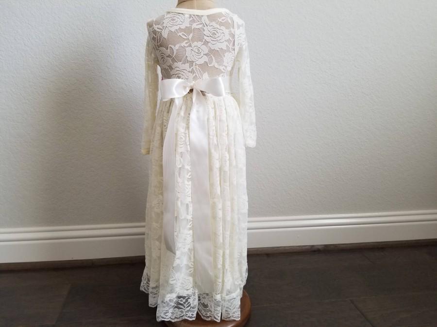 Wedding - ivory flower girl dress, girls lace dress, country lace dress, rustic flower girl dress, long sleeve lace dress, boho flower girl dresses