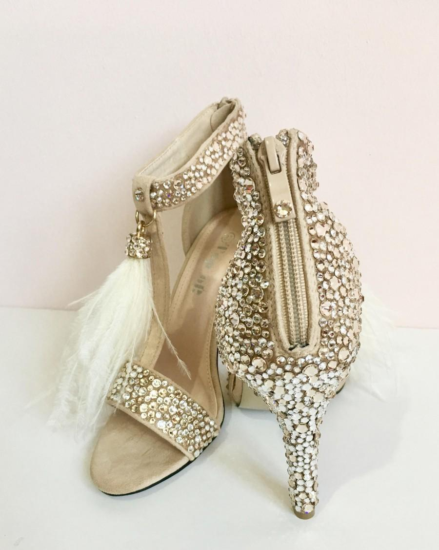 d10b67f99ca6 Bridal Shoes   Wedding Shoes   Nude Suede Heels with Swarovski Crystals and  Feather Tassels  Silk Crystals Encrusted Shoes