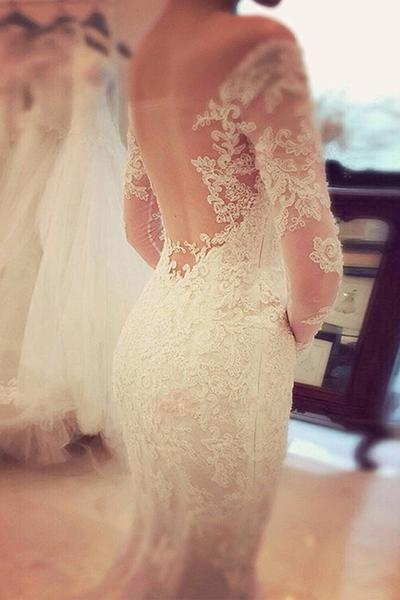 Hochzeit - Charming Off The Shoulder Long Sleeves Lace Mermaid Wedding Dress WD018