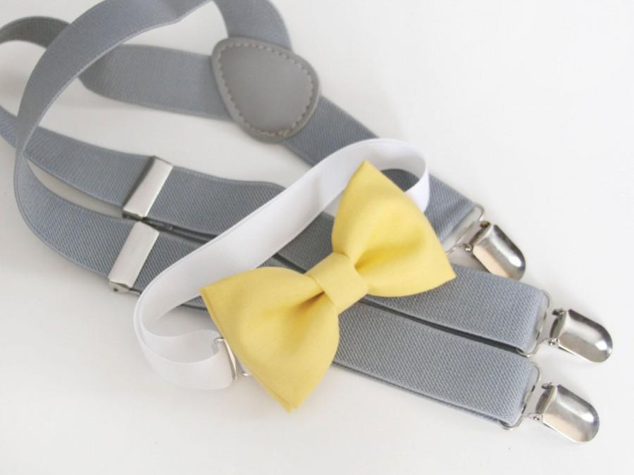 Hochzeit - Light Yellow bow-tie & Gray elastic suspenders set - Adjustable neck strap and suspenders - Yellow bow tie and gray suspenders set
