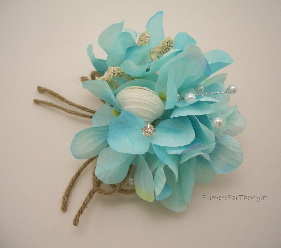 Hochzeit - Beach Wedding Corsage, Seashell Aqua Hydrangea Bridal Flowers