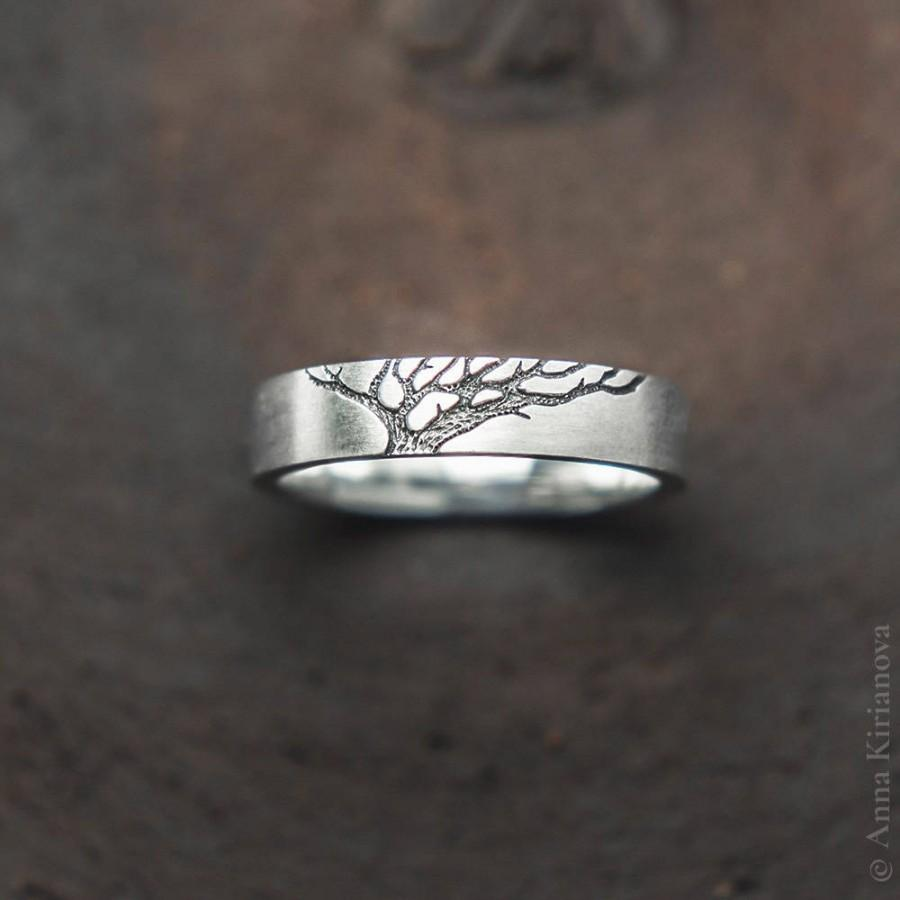 Tree Wedding Band Ring Set Men And Women Nature Inspired Sterling Silver Jewelry His Hers Black Or Gold