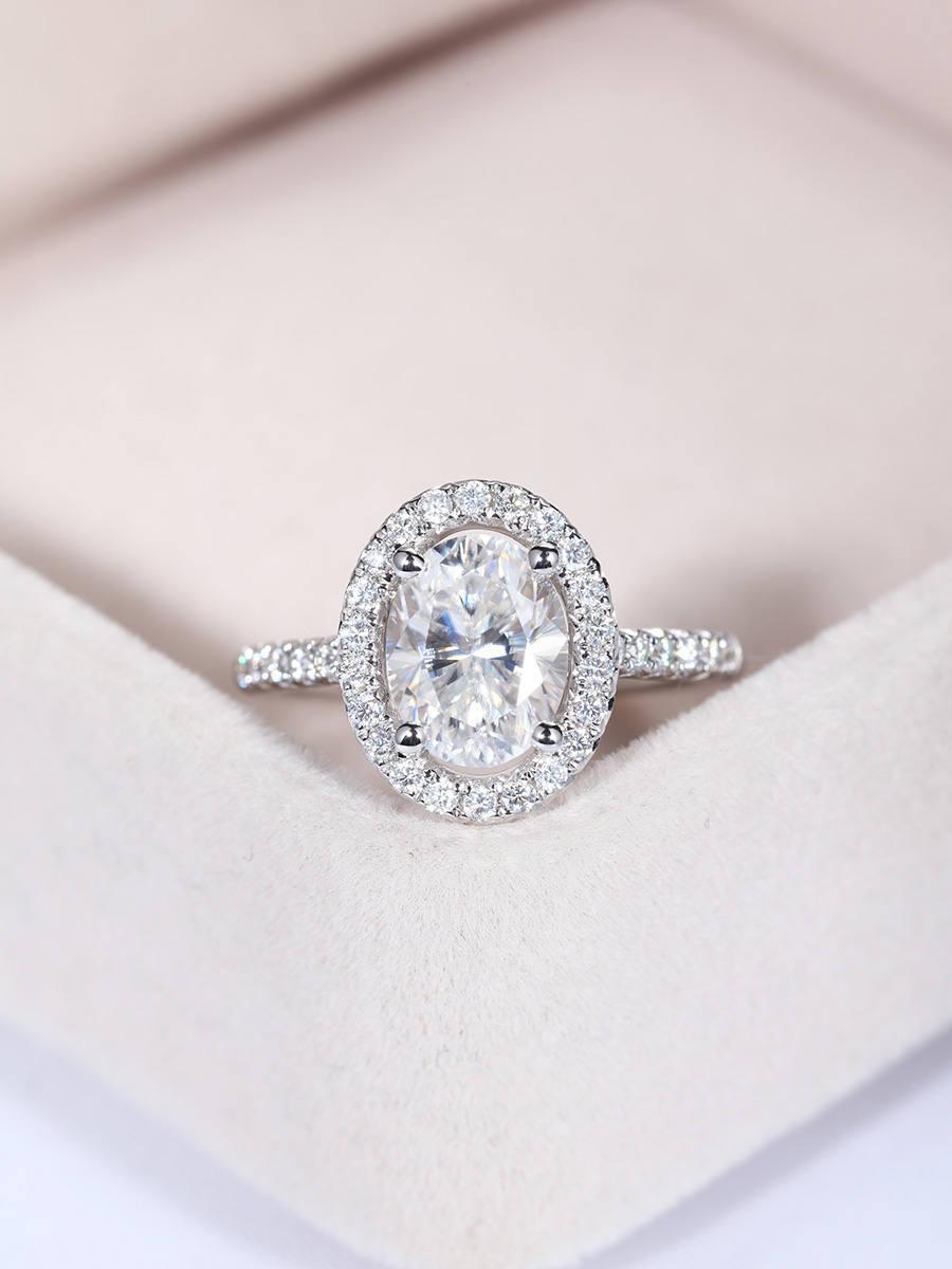 Свадьба - Vintage engagement ring Women Wedding Antique Unique Oval Moissanite Diamond Half eternity Micro pave Bridal set Jewelry Anniversary gift