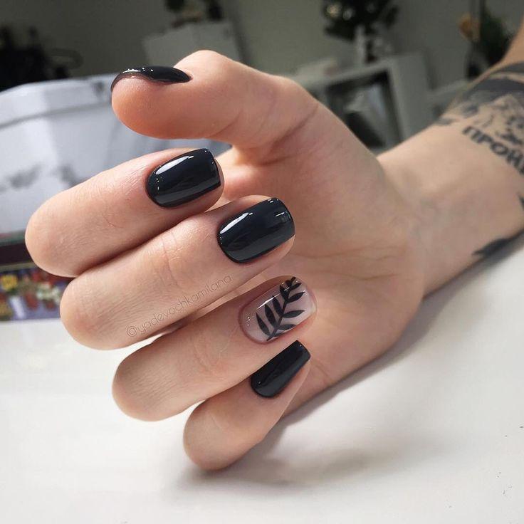 Nagel Black Leaf Nail Art 2785750 Weddbook