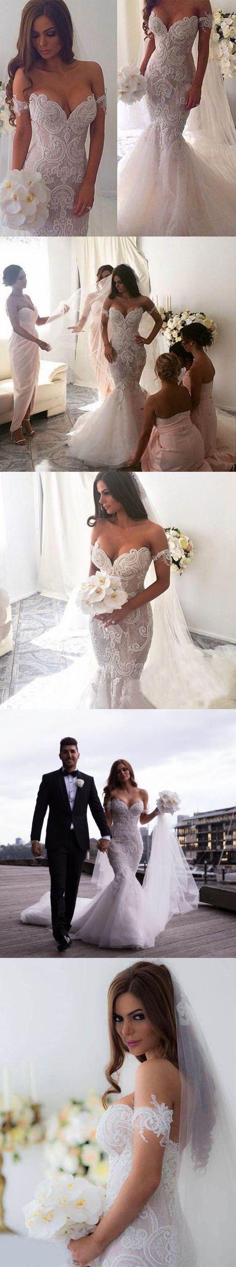 Wedding - Off The Shoulder Mermaid Applique Charming Long Wedding Dress, BG51610 - US0 / Picture Color