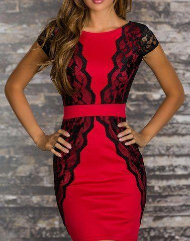 Свадьба - Women's Polyester Color Matching Backless Lace Embroidered Stitching Beam Waist Packet Buttock Stylish Dress