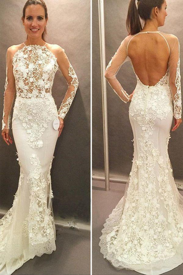 Mariage - Long Sleeves Lace Appliques Open Back Court Train Wedding Dress WD038
