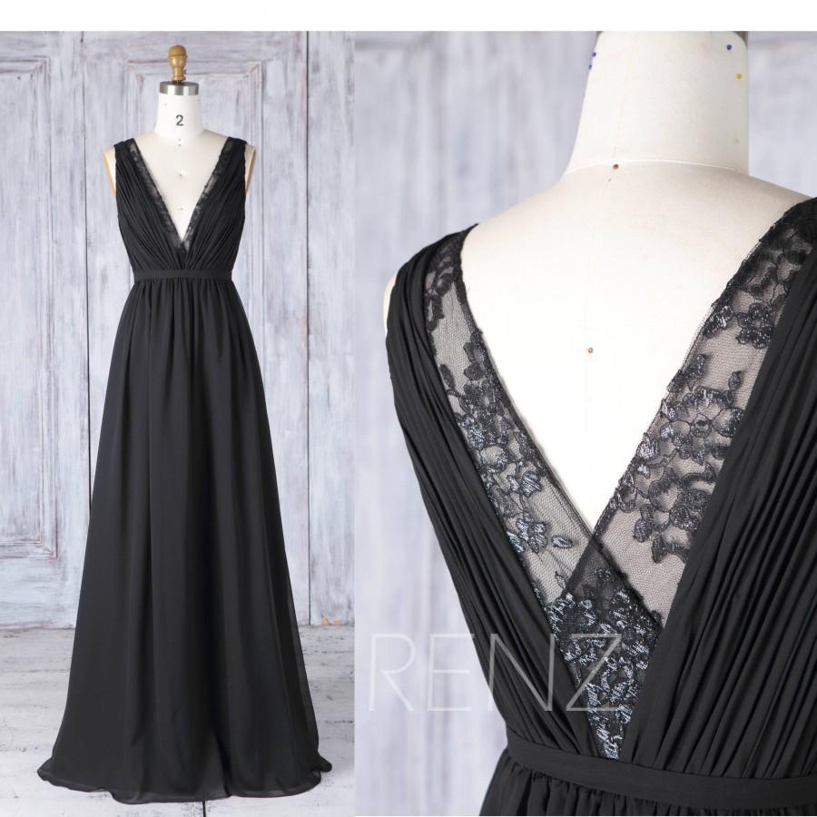 زفاف - 2017 Black Chiffon Bridesmaid Dress,Deep V Neck Wedding Dress,Lace V Back Prom Dress, Ruched  A Line Formal Dress Floor Length (H493)