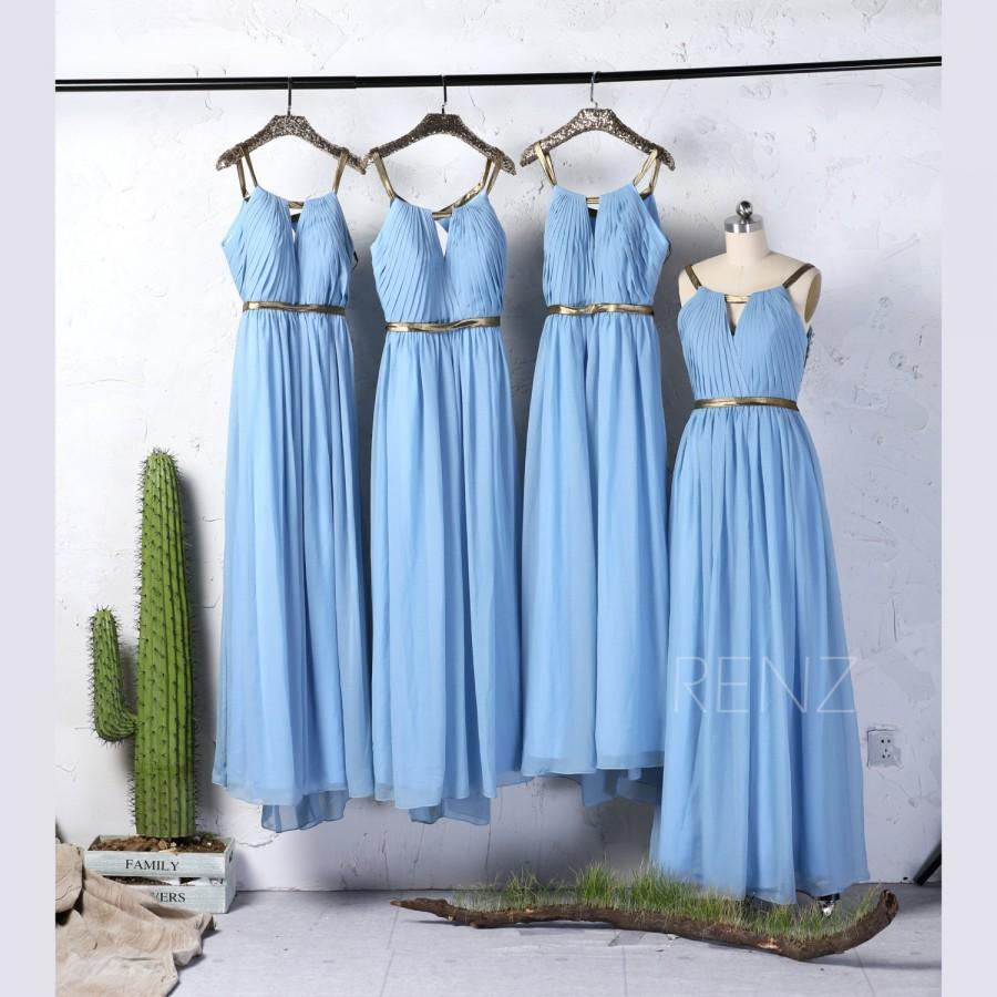 Baby Blue Chiffon Bridesmaid Dress With Gold Belt Ruched Bodice