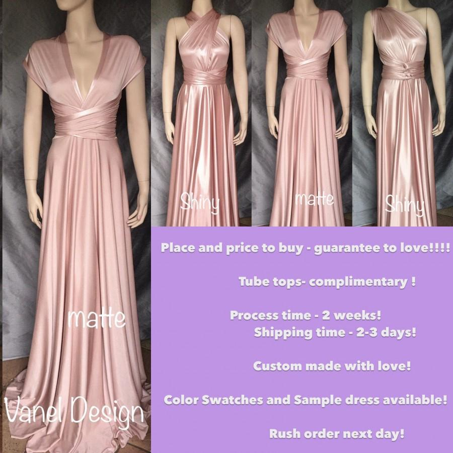 Blush Bridesmaid Dress, Convertible Bridesmaids Dress Blush Long ...
