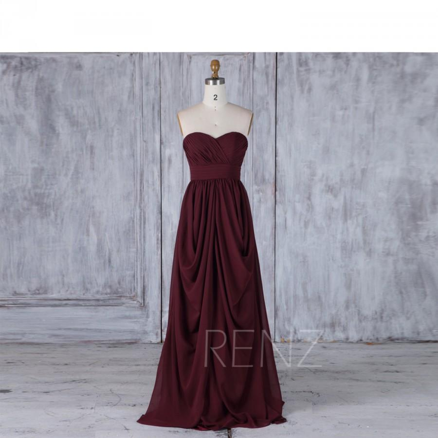 Maroon Chiffon Bridesmaid Dress, Draped Wedding Dress, Sweetheart ...